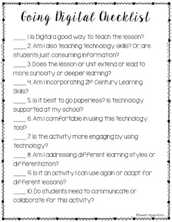See if technology integration is right for you and your students. You'll find the 10 questions to ask before going digital. There's a FREE checklist too. Click through to learn more for your 2nd, 3rd, 4th, 5th, or 6th grade students. You'll be considering 21st Century Skills, enhancement, going paperless, student engagement, differentiation, and more about technology integration in the classroom.