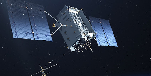 The U.S. Air Force's Lockheed Martin-built next generation GPS III satellite on orbit. Rendering portrays GPS III Space Vehicles (SVs) 01-10. Credit: Lockheed Martin