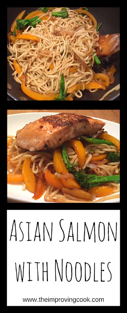 Asian Salmon with Noodles long pinnable image