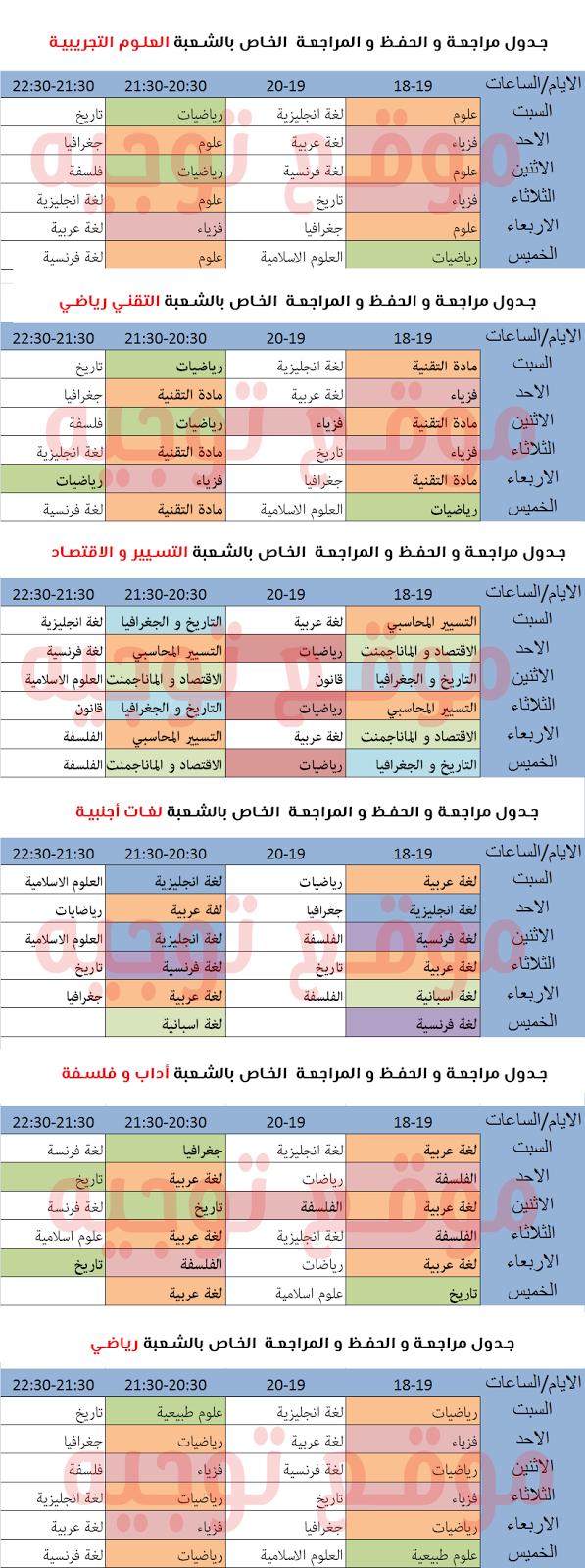 جدول تنظيم الوقت للدراسة بكالوريا
