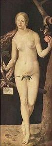 Eva de Alberto Durero, óleo sobre tabla 209x80 cm.