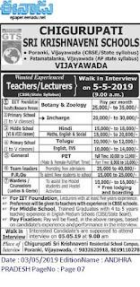 Chigurupati Sri Krishnaveni Schools Vijayawada Teachers jobs