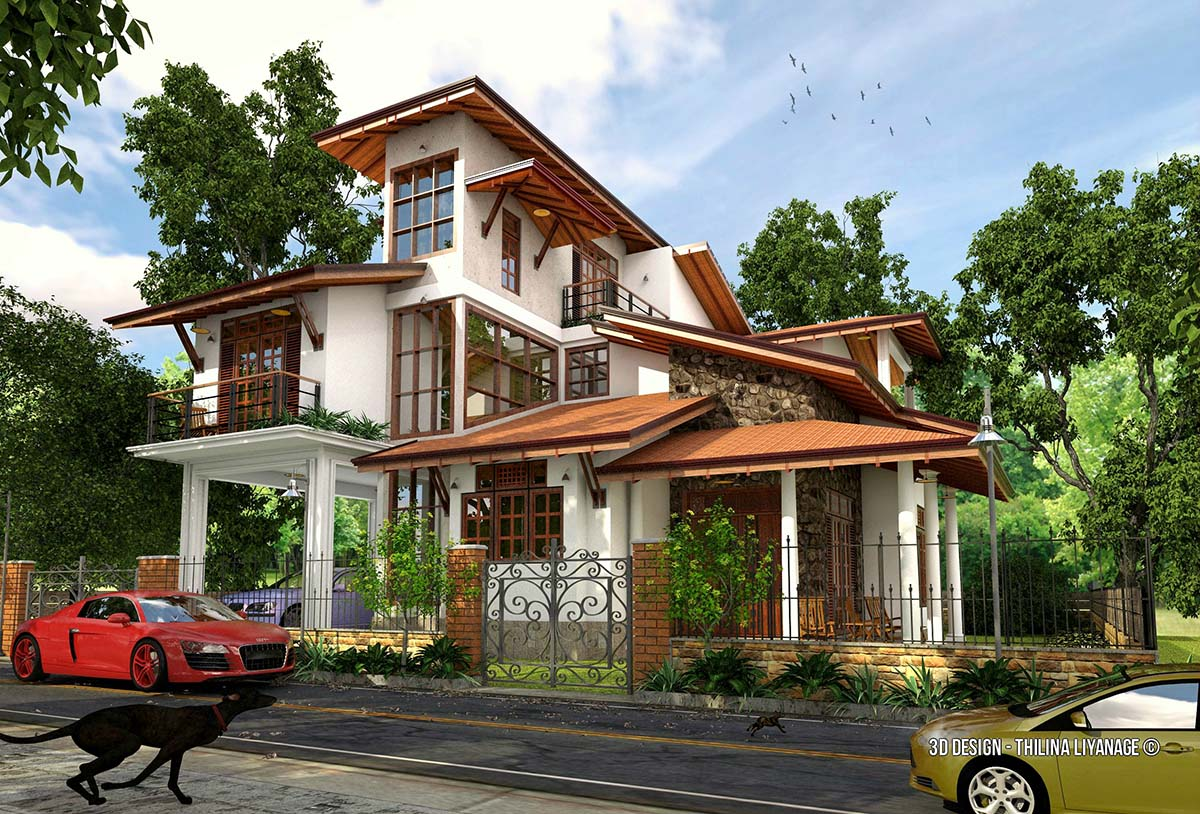 33# 4 bedroom house vray render  byThilina Liyanage isometric view
