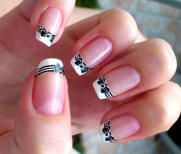 Designs Art Nail Polish White Nails Black Bow Nail Designs No 44