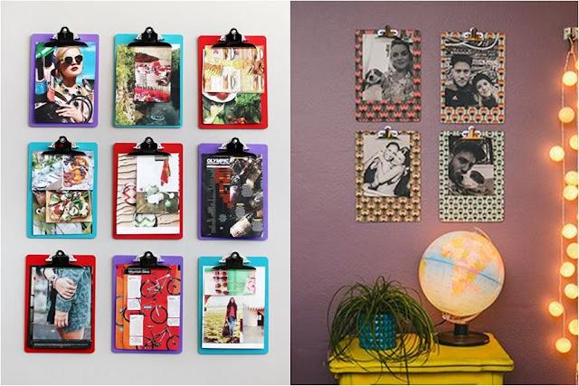 Mural de fotos com pranchetas