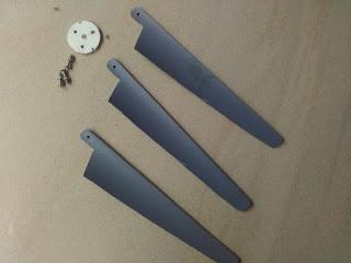 Home made mini wind turbine propeller blades