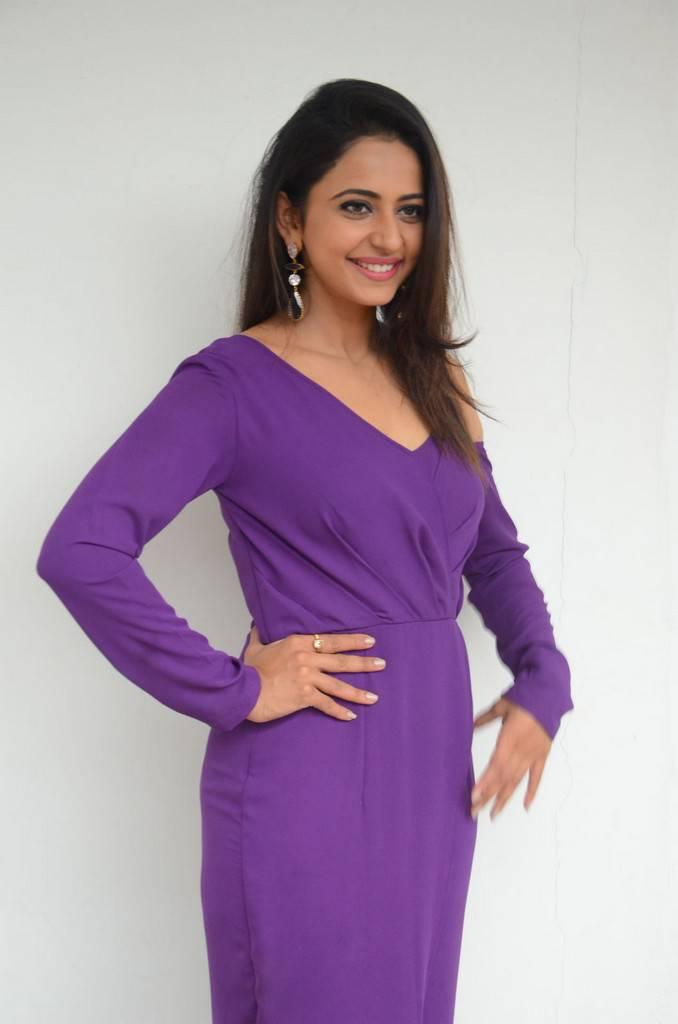 Rakul Preet Singh At Movie Interview In Violet Dress