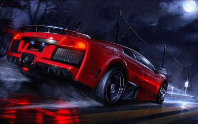 Papel de parede lamborguini vermelha Muscle car Lamborguini in high speed on road desktop hd wallpaper