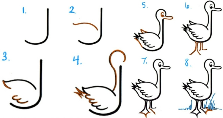 20 dessins faciles pour apprendre dessiner aux enfants made home - Canard dessin facile ...