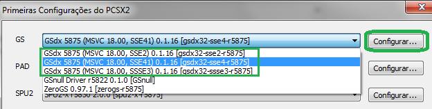 Selecionando o GSdx 5875