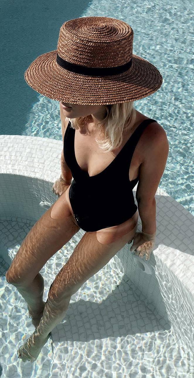 hat + monokini
