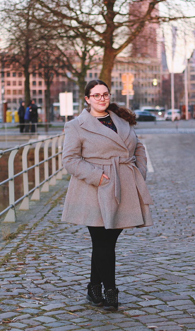 plus size grey ASOS skater coat