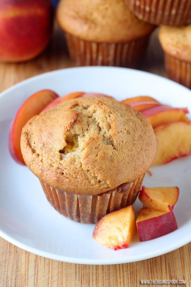 Peaches and Cream Muffins | The Rising Spoon
