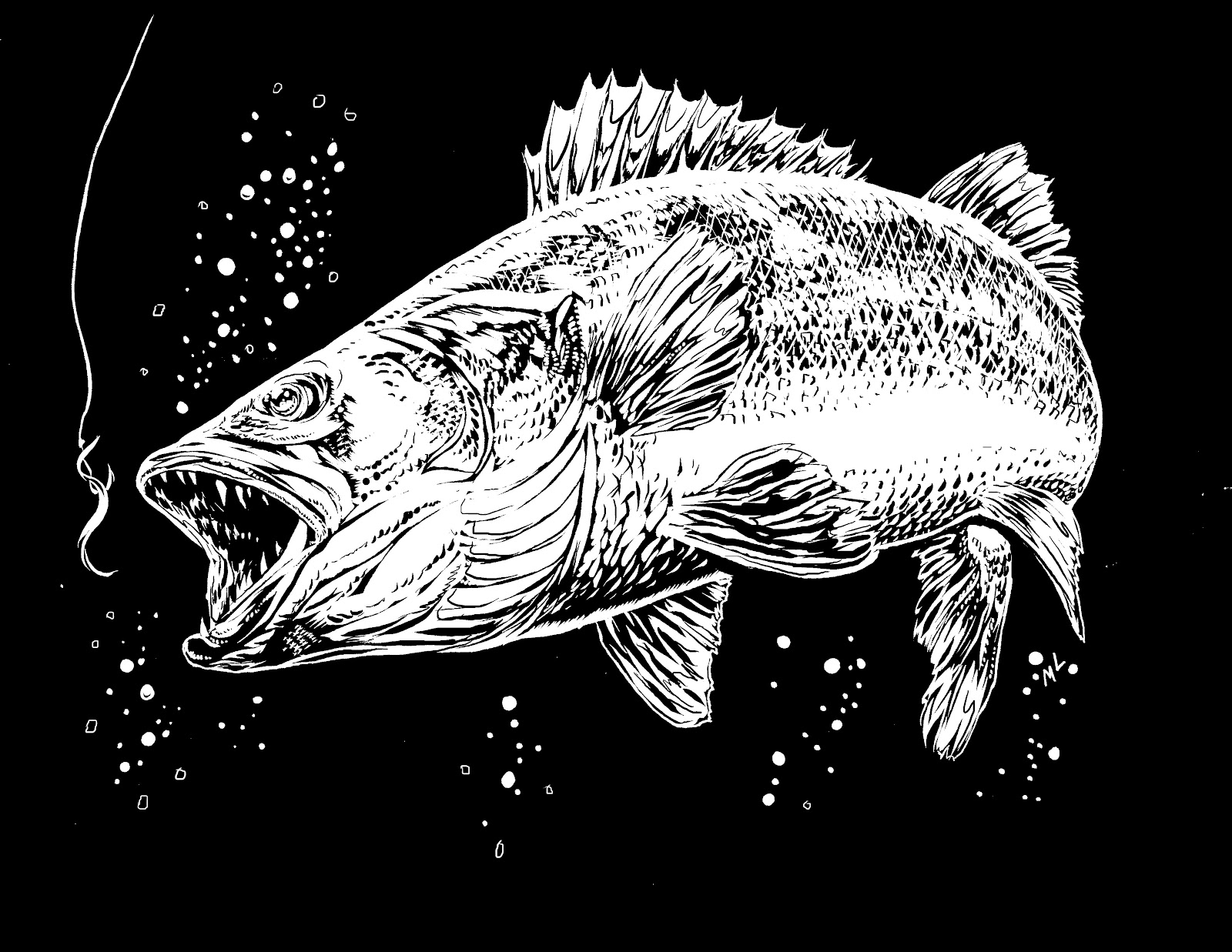walleye coloring page - the art of mark lone fan art personal commissions gallery