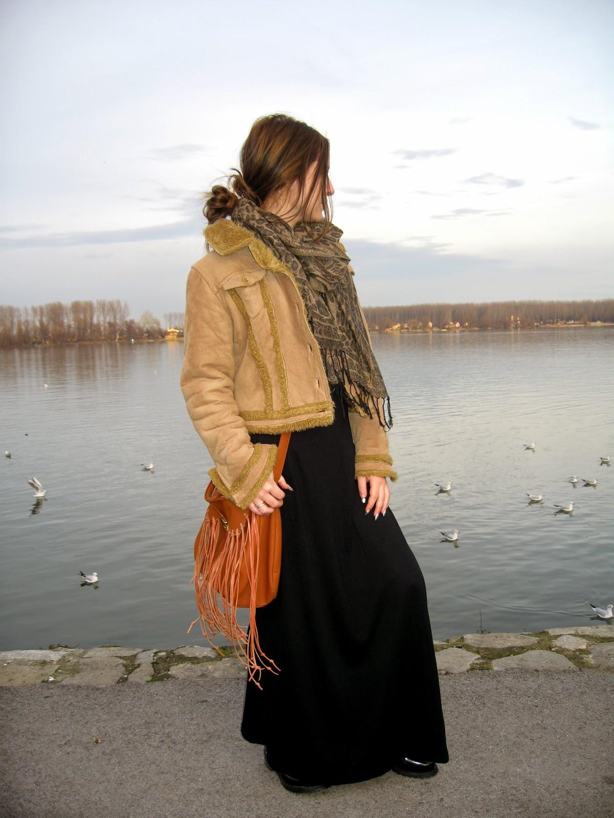 outfit, black maxi skirt, black combat boots, dr martens boots, bomber jacket, oversize scarf, diy fringe cross body bag