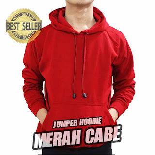 hoodie jumper polos merah
