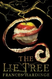 Cover of The Lie Tree. A partially peeled apple hangs from a gnarled, yellow-toned branch against a black background. The curl of peel is still attached to the apple, and the inside edge of it is etched with phrases like I love you, I forgive you, and You look beautiful.
