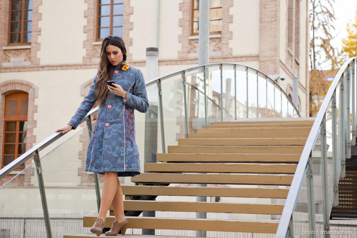 Cotton Jacquard coat - Senorita Martita FALL-WINTER street style by Amanda Dreamhunter - made in Spain