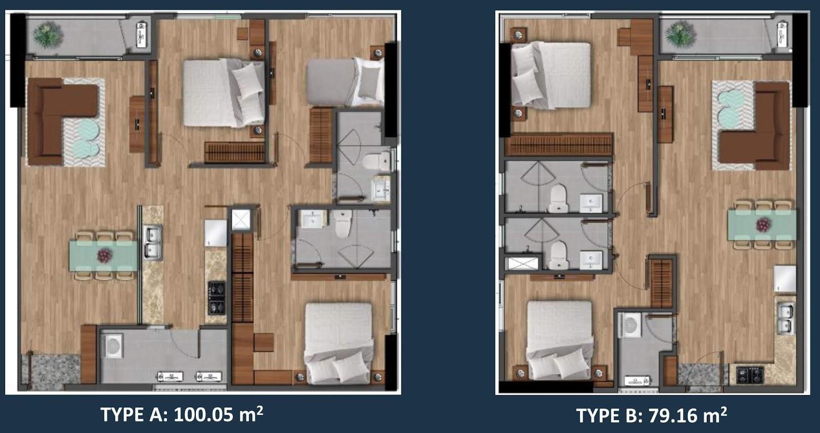 Mặt bằng căn hộ loại A và B