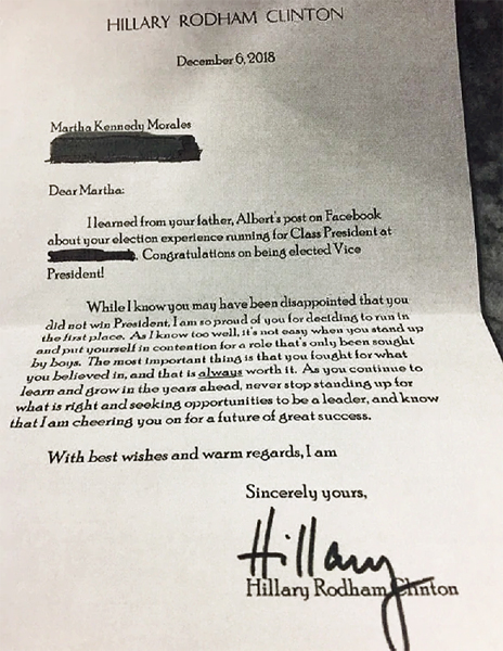 image of the letter to Martha from Hillary Clinton