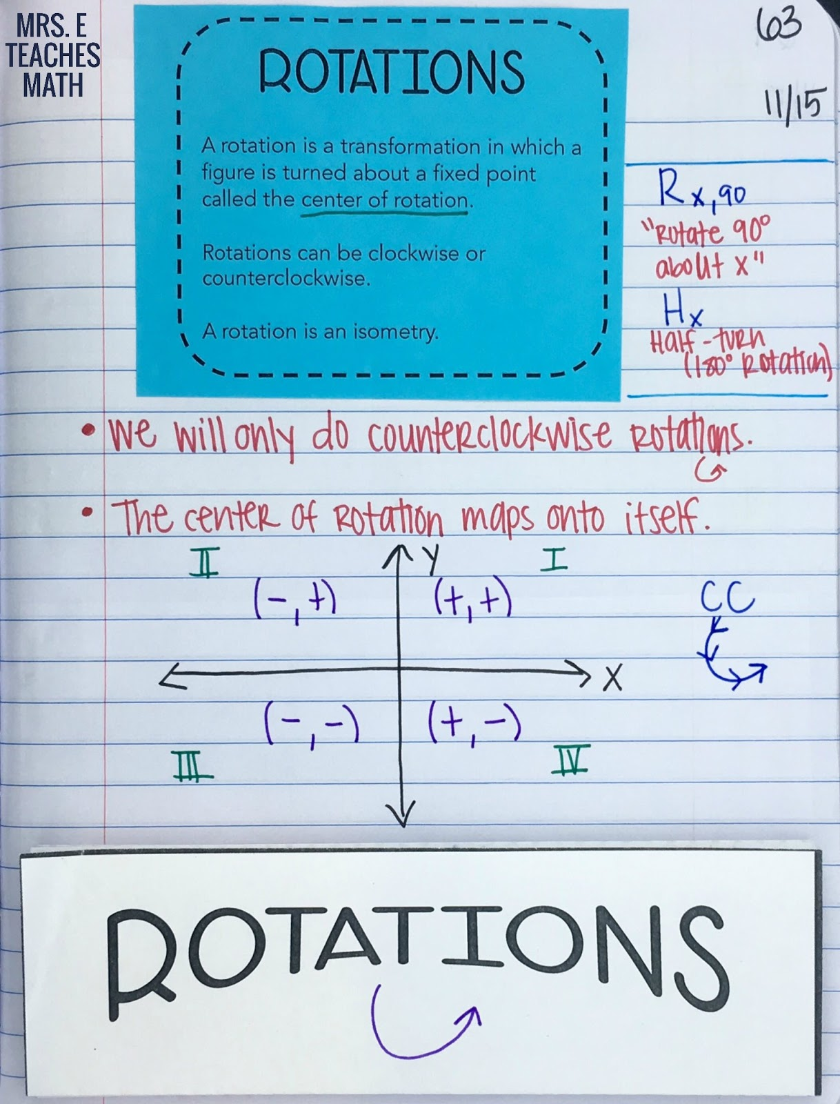Reflections and Rotations INB Pages | Mrs. E Teaches Math