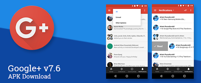 Google+ v7.6 APK to Download : Get New Android N Swipte Action Feature