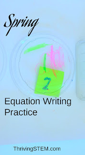 This spring themed kindergarten equation writing practice would work well as a learning basket or as a way to liven up home work.