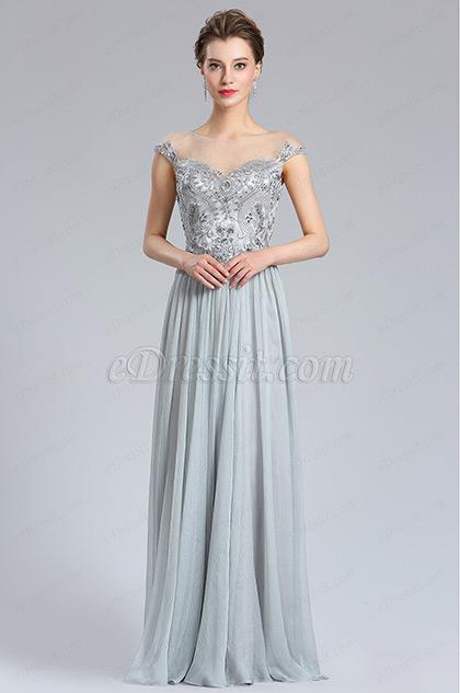 Elegant A Line Cap sleeve Grey Prom Evening Dress