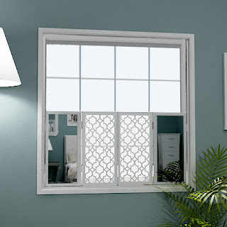 Cafe style mirror window shutters with moroccan grilles