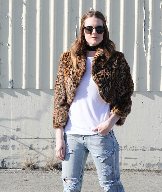 Faux Fur Leopard Cropped Jacket