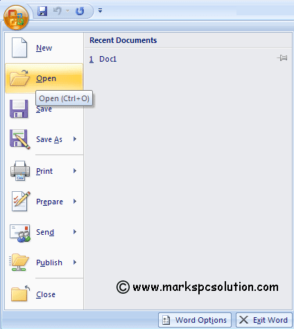 Office Button & Word Option in MS Word 2007