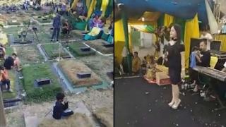 Viral! Pesta Pernikahan di Kuburan Diiringi Musik Dangdut dan Gayangan