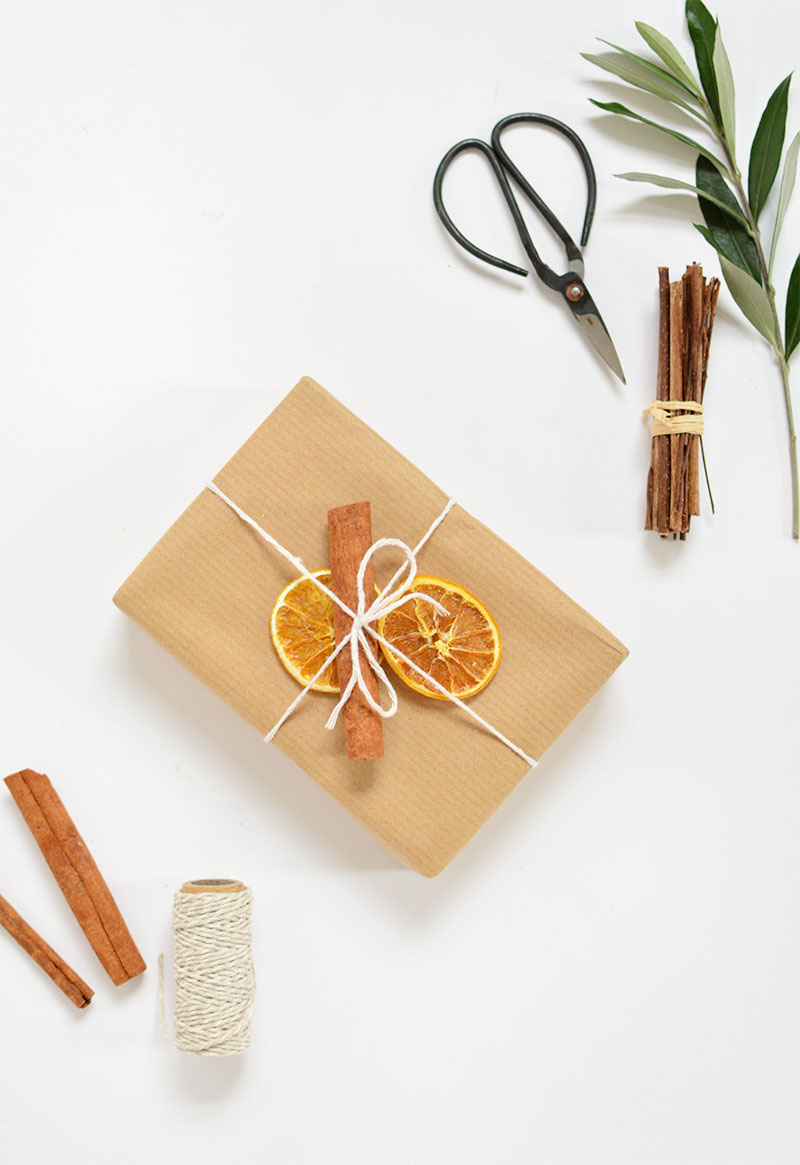 christmas gift wrap - dried fruit and cinnamon sticks