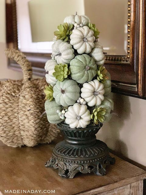 Fall Green Pumpkin Topiary Centerpiece