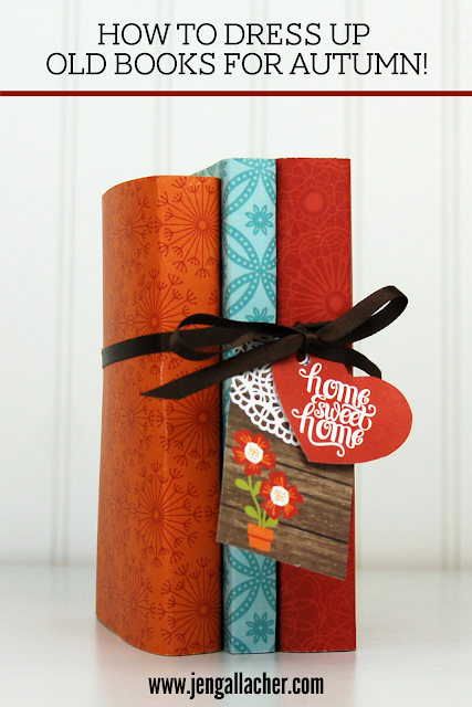 Covered paperback books for Autumn craft with www.jengallacher.com. #papercraft #oldbooks #kidcraft #autumn