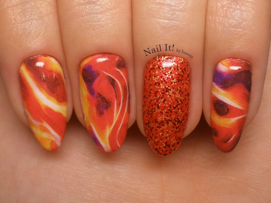 Marble Flames - Lady Queen Stickers Review and Nail Art