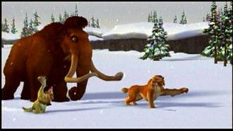Diego leading the others through the snow in Ice Age 2002 animatedfilmreviews.filminspector.com
