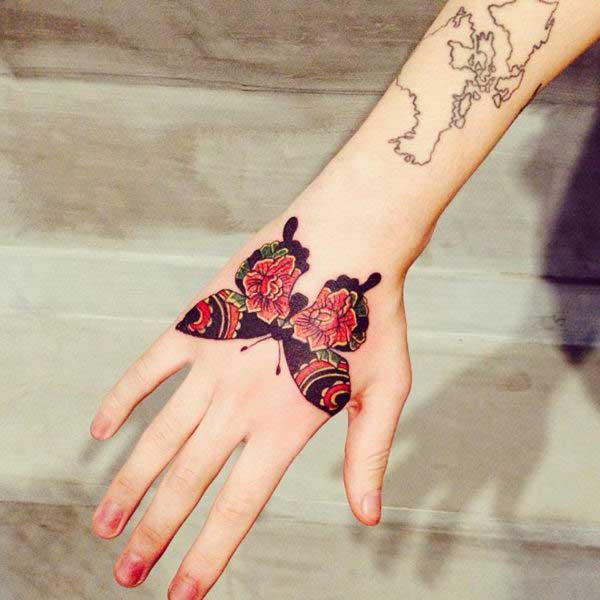 butterfly tattoo for hand el üstü kelebek dçvmesi