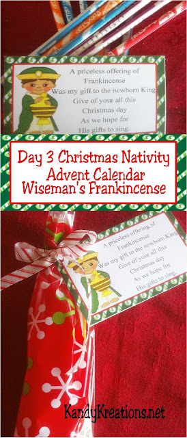 Celebrate the Christ child this Christmas with a sweet nativity advent calendar to give to those you love this holiday.  Day four is the Christmas wise man who shares his gift of frankincense and the hope of Christ's gifts. #christmasgift #wisemen #advent #christmas #countdown #nativity #diypartymomblog