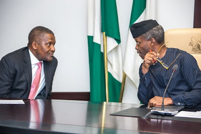 Acting President, Osinbajo Names Dangote, Peterside, Chukwuma, 33 Others in New Appointments - See Full List