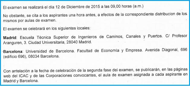 Examen práctico ROAC 2015 fecha hora lugar