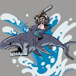 Leatherface sur un requin / Leatherface riding a shark