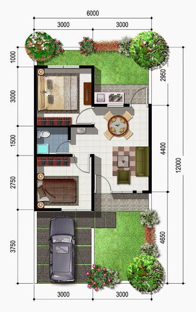 Koleksi Denah Rumah Minimalis Ukuran 6x12 meter