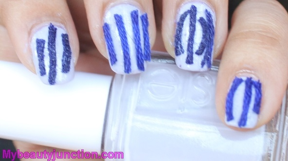 Thread nail art with Essie St Lucia Lilac polish