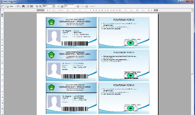 Sofware cetak Kartu anggota perpustakaan