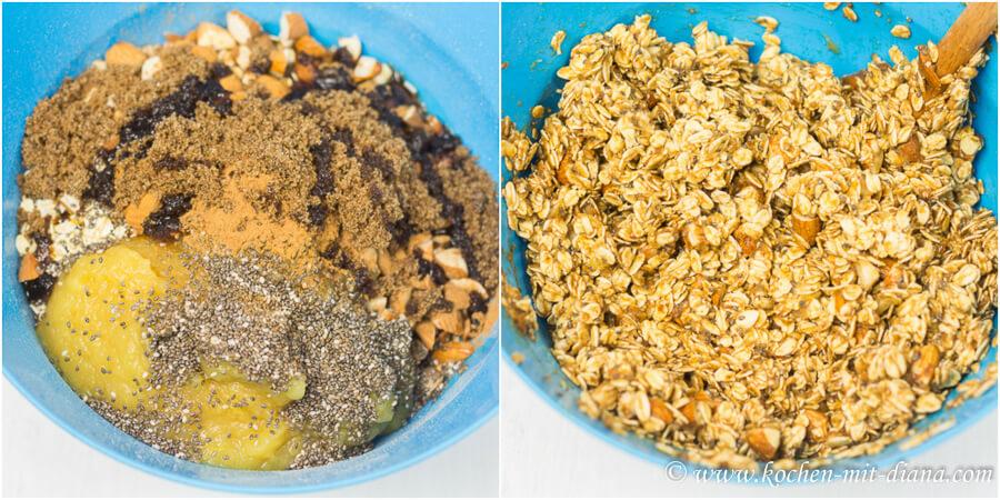 Zutaten fuer Apfel-Zimt Granola vermengen
