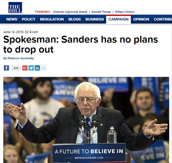 screen cap of an article in The Hill with the headline 'Spokesman: Sanders has no plans to drop out' and an image of Bernie Sanders at a rally