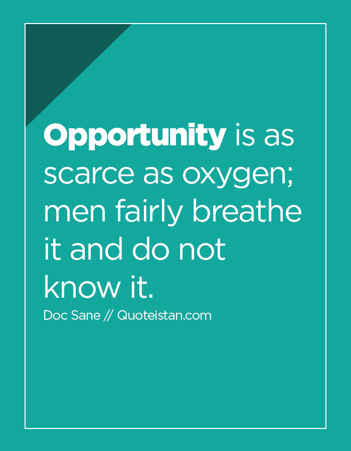 Opportunity is as scarce as oxygen; men fairly breathe it and do not know it.