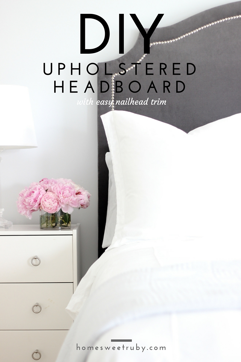 Diy upholstered headboard with nailhead trim update home sweet ruby especially getting it over the curved edges without lumps and bumps so consider yourself warned if you go with this shape andor a velvet like fabric solutioingenieria Image collections
