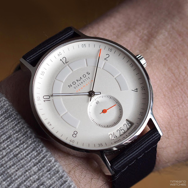 Wristshot of the Nomos Glashütte Autobahn Ref. 1301